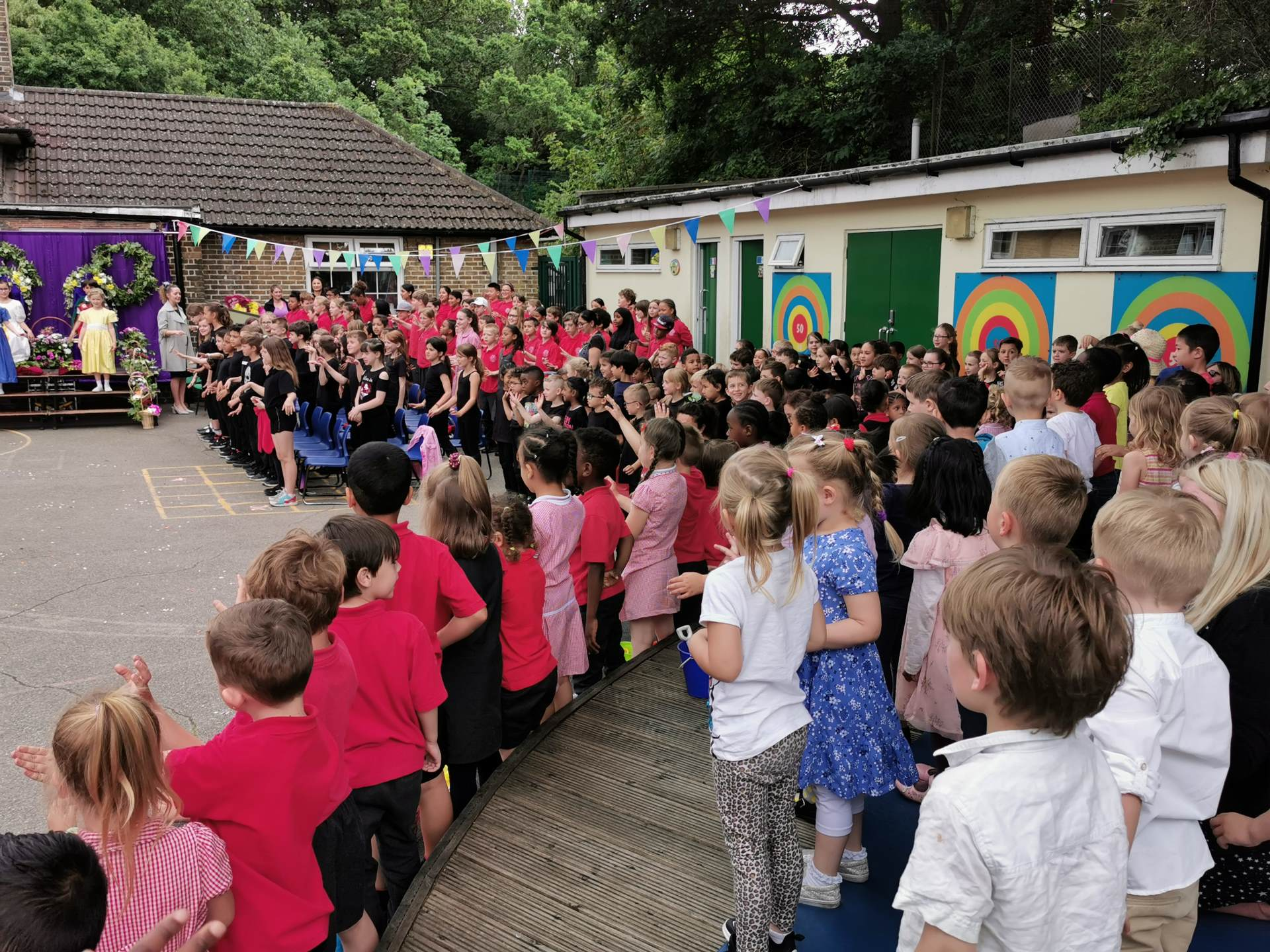 Whole school singing at May Day